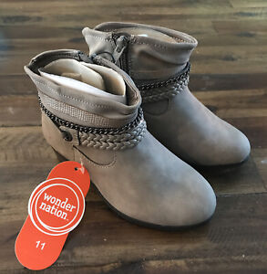 NWT Wonder Nation Grey girls dress casual cute boots//booties