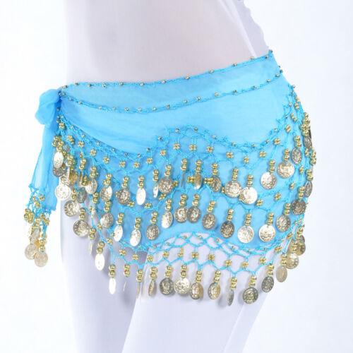 Women Belly Dance Costumes Hip Scarf Wrap Belt Skirt Gold//Silver Coins Beads