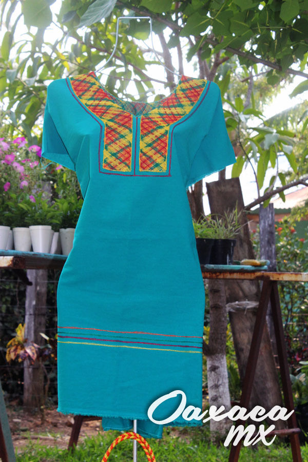 037 Womens Mexican Huipil Embroidered Dress Oaxaca Green Turquoise Boho Hippie