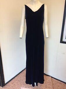 BNWT-Royal-Navy-Velour-Strappy-Dress-From-NEXT-Slim-Fit-Size-14