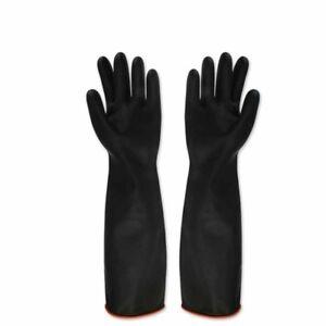 1pair Black Latex Gauntlets 55cm Long Gloves Industrial