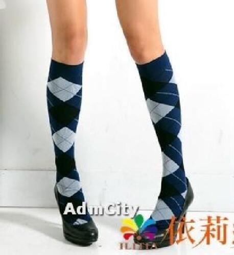 Women Plaid Spandex Stretch Knee High Socks Stockings Blue One Size