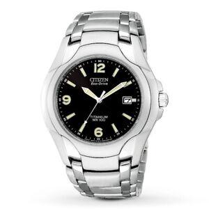 Citizen-Eco-Drive-Men-039-s-Titanium-Date-Calendar-Black-Dial-40mm-Watch-BM6060-57F