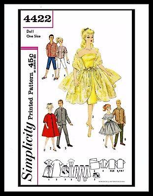 Vintage Simplicity Butterick Advance Fashion Doll Sewing Patterns Barbie /& Ken