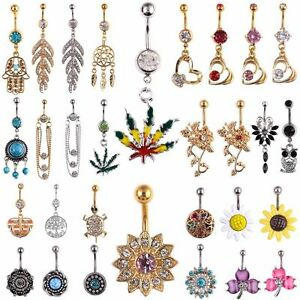 Crystal-Dangle-Ball-Barbell-Bar-Belly-Button-Navel-Ring-Body-Piercing-Jewelry