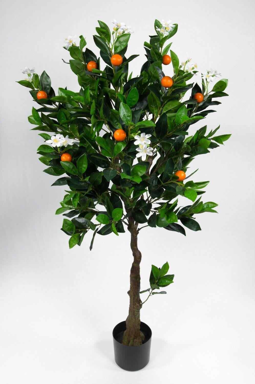 Orangenbaum mit Blüten 120cm LA künstlicher Baum Kunstbaum Kunstpflanzen