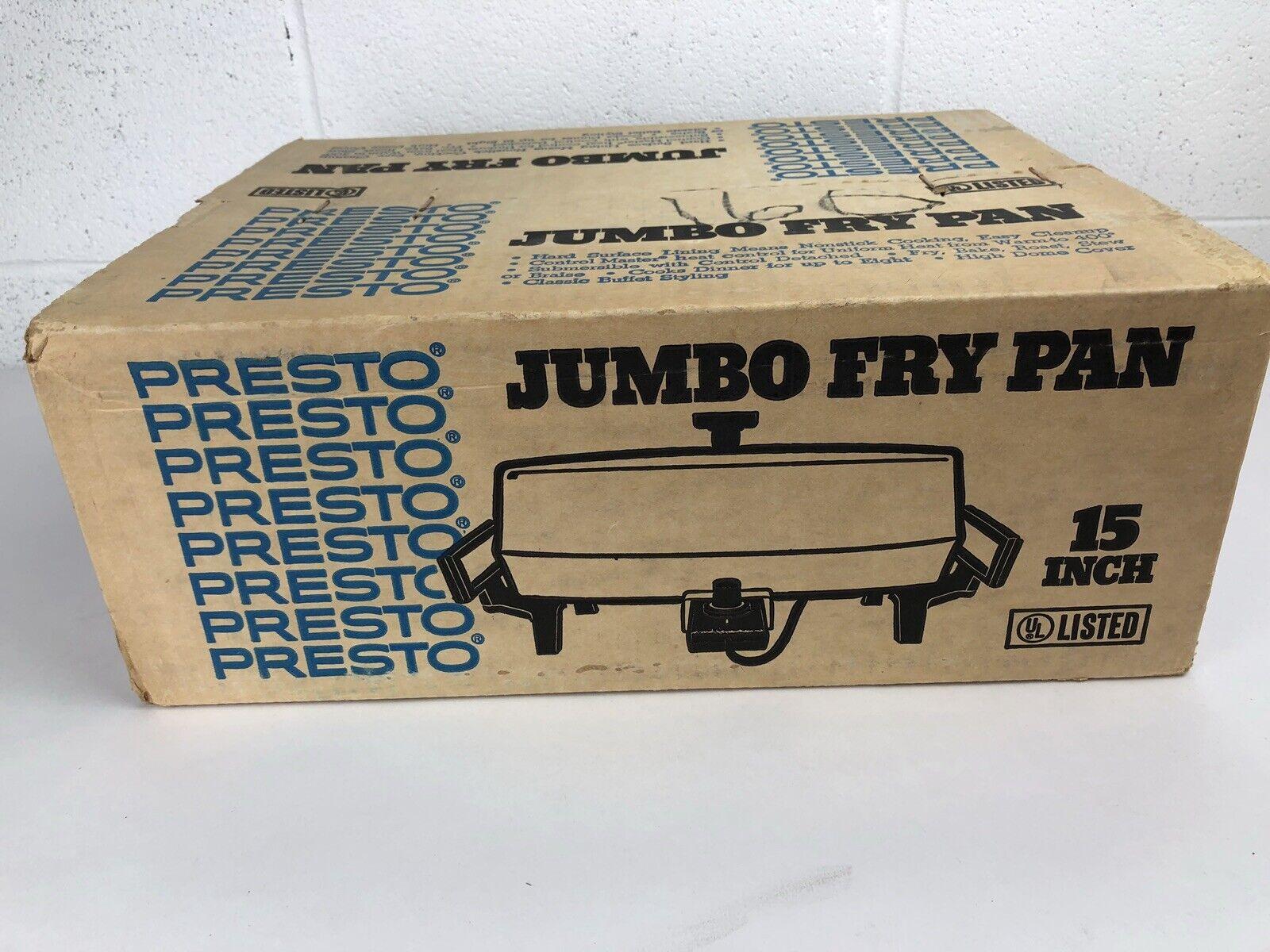 Vintage Jumbo Electric Fry Pan par Presto 15  Grand new in box RARE plaque chauffante 70 s