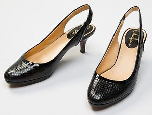 165a144b702 Details about Women's Cole Haan Black Snake Print Leather Slingback Heels  Size Sz US 7.5 B