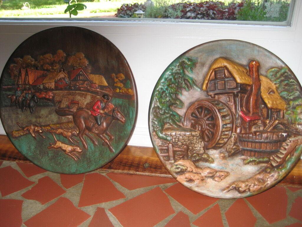 Paar von Geprägt Wand Tafeln Dekorativ Teller Ladegeräte