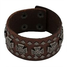 Maltese Cross Studs Brown Leather Cuff Bracelet