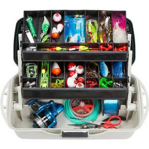 Wakeman Outdoors 2Tray Fishing Tackle Box and Art Supply Organizer,Medi