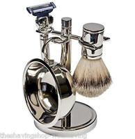 Kingsley 4-piece Silver Plated Shave Set