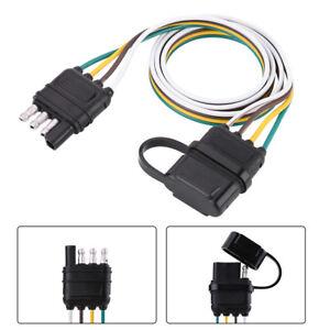 6V/12V/24V 4 Pin Flat Trailer Plug Light Socket Wire Connector ...