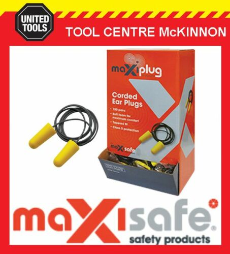BOX OF 100 MAXISAFE 'MAXIPLUG' CLASS 5 27dB AS//NZS 1270:2002 CORDED EARPLUGS
