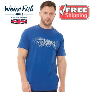 WEIRD FISH MENS SCRIBBLE BLUE BRANDED T-SHIRT DEEP OCEAN BLUE