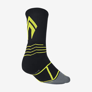 Nike Elite Vapor Crew Black/Volt Baseball Socks