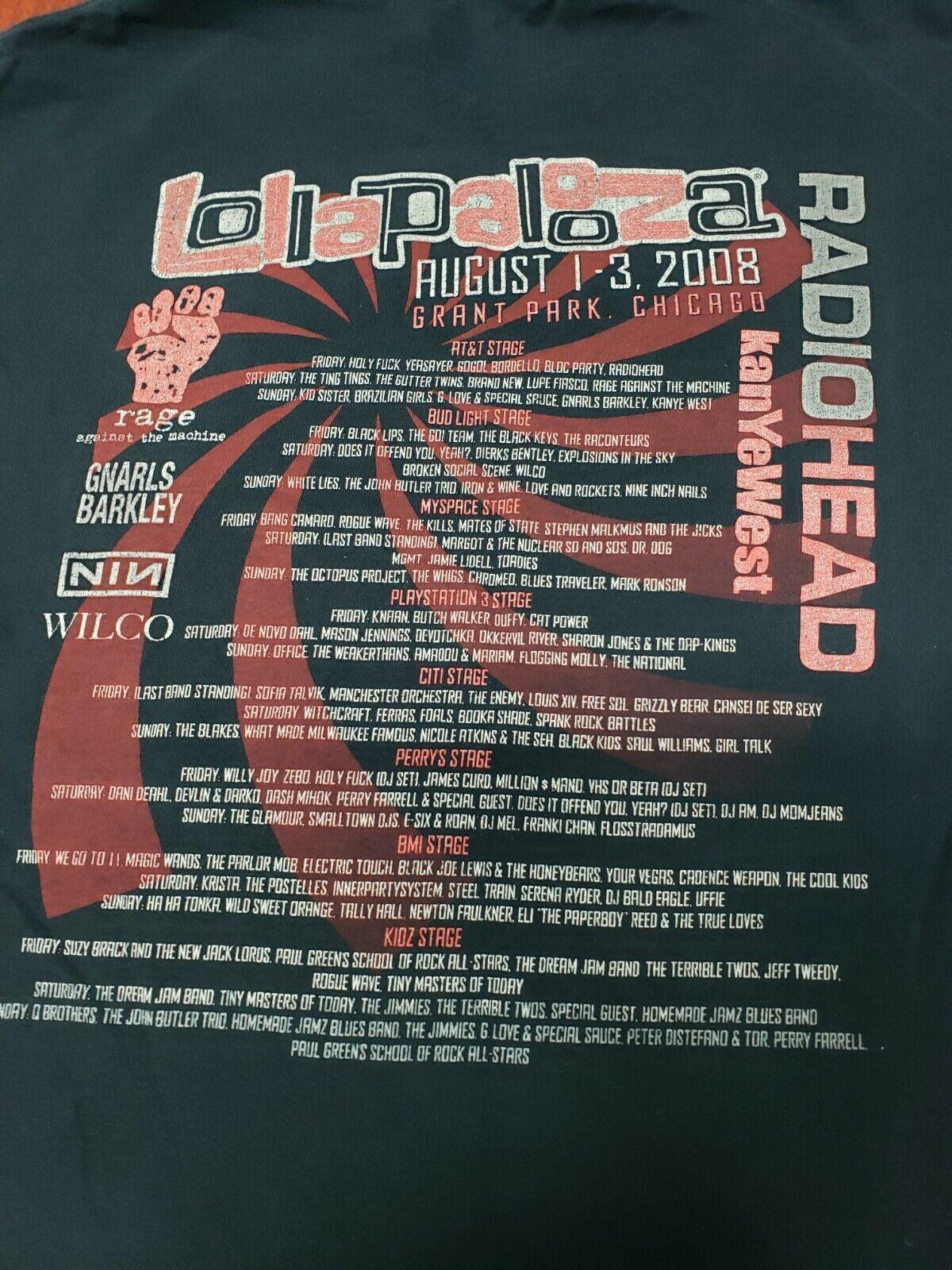 Lollapalooza T-Shirt 2008 Radiohead Rage Against … - image 8