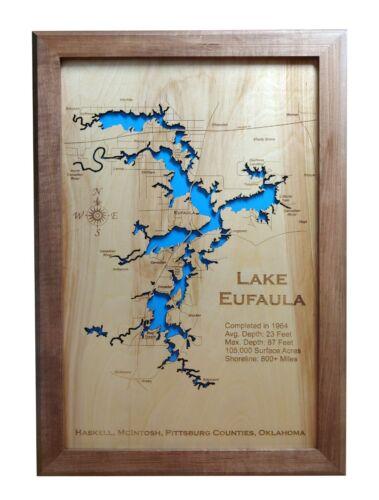 Eufaula Lake Oklahoma Wood Laser Engraved 2D Map