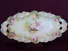 """Exquisite 13 3/4"""" RS Prussia Celery Dish w/Hanging Basket of Roses, Icicle Mold"""