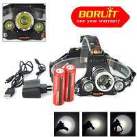 Powerfull 13000LM 3 x XM-L T6 LED Headlamp Headlight flashlight+2*18650+USB line