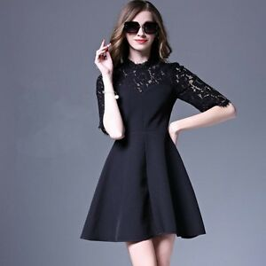 204c9547e07c Image is loading Elegant-refined-suit-black-lace-classic-swing-sleeve-