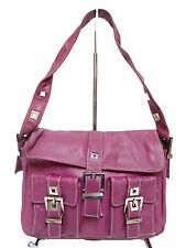 Pre-Owned Perlina Shoulder Leather Fuchsia Silver Hardware 2Front Flap Pockets