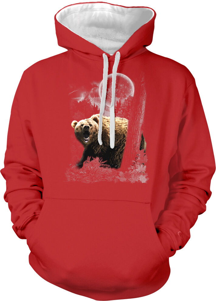 Grizzly Bear Brown Forest Trees Growl Full Moon Night Two Tone Hoodie Sweatshirt