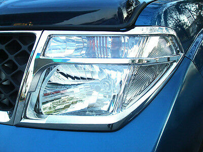 CHROME HEAD LIGHT LAMP COVER TRIM FOR NISSAN NAVARA D40 2005-2010 V.1