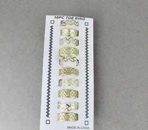 Set of 10 Assorted Silver Tone Metal Toe Rings