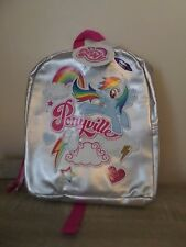 CLAIRE'S GIRLS & WOMANS MY LITTLE PONY PONYVILLE SILVER BACKPACK BAG BNWT GIFT