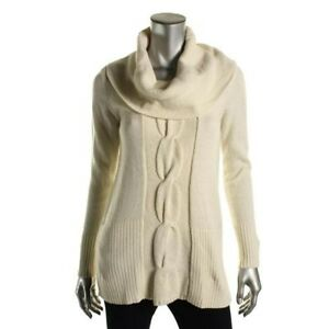 Inc-International-Concepts-Cowl-Neck-Cable-Knit-Tunic-Sweater-Size-M