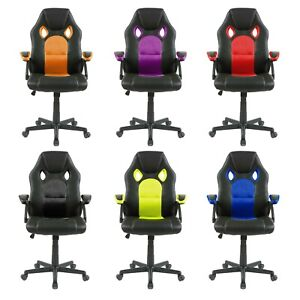 Swivel-PU-Leather-Mesh-Office-Racing-Sport-Gaming-Style-Tilt-Computer-Desk-Chair