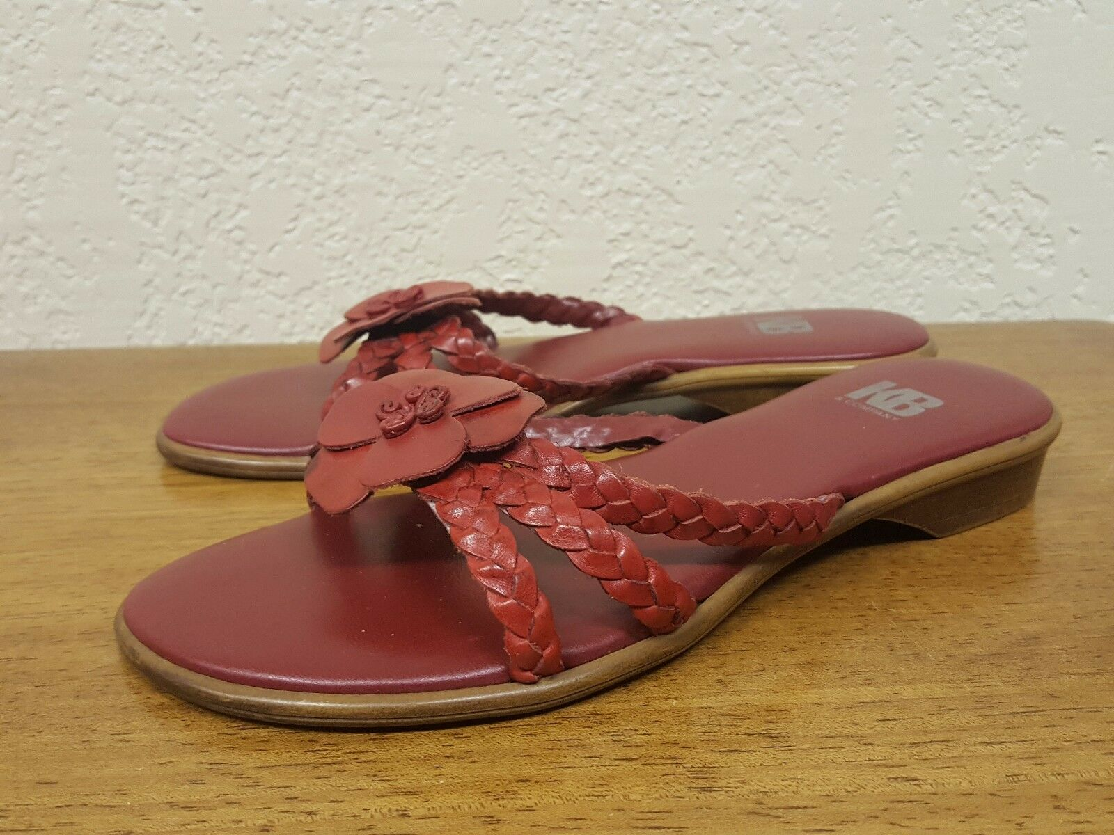 Women's KB & Company Red Size Leather Blossom Sandal - Size Red 6 1ef6d4