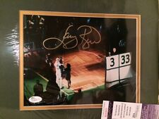 LARRY BIRD AUTHENTIC SIGNED AND MATTED 8x10 PHOTO      JERSEY RETIRE     JSA COA