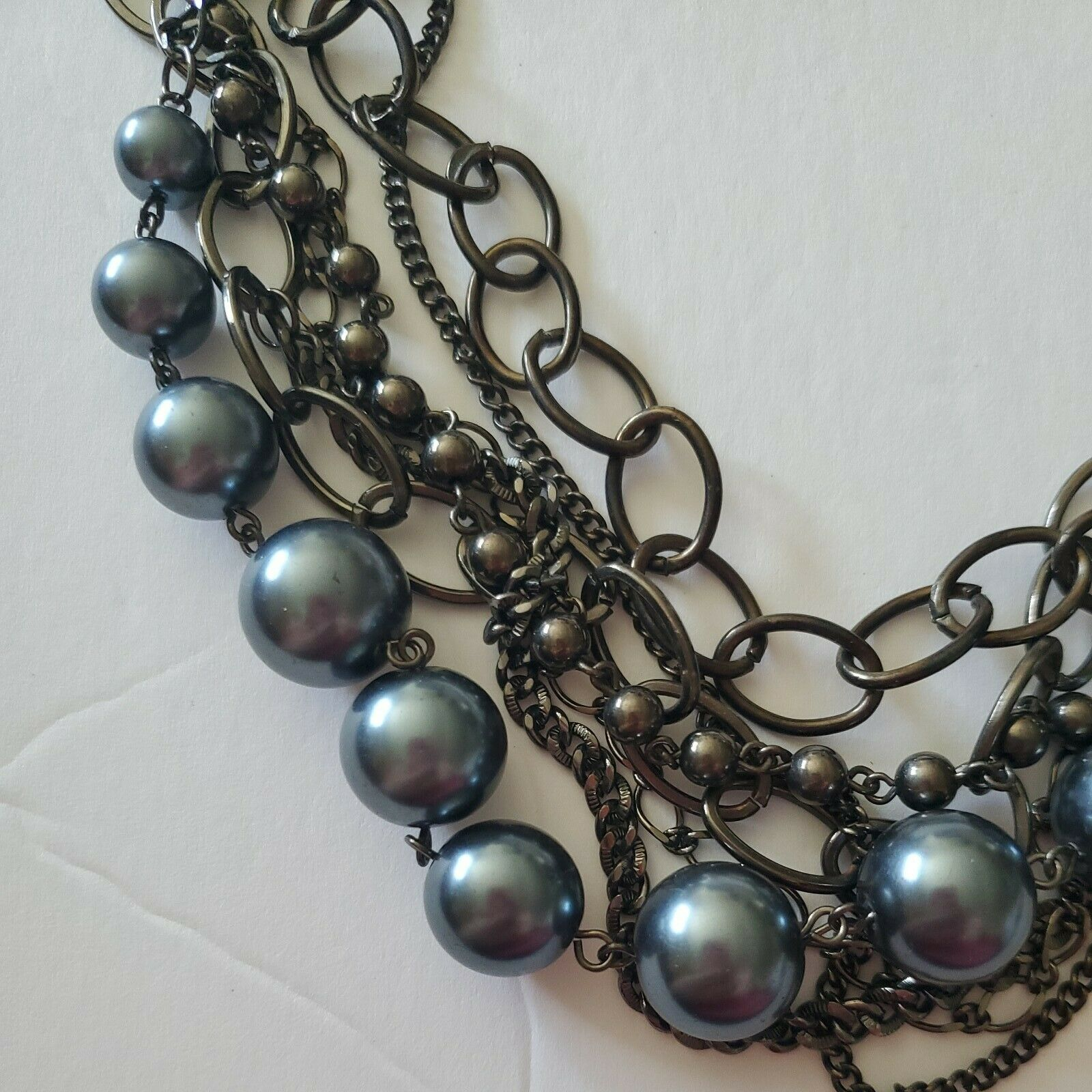 Multi Chain Blue Beaded Necklace - image 2