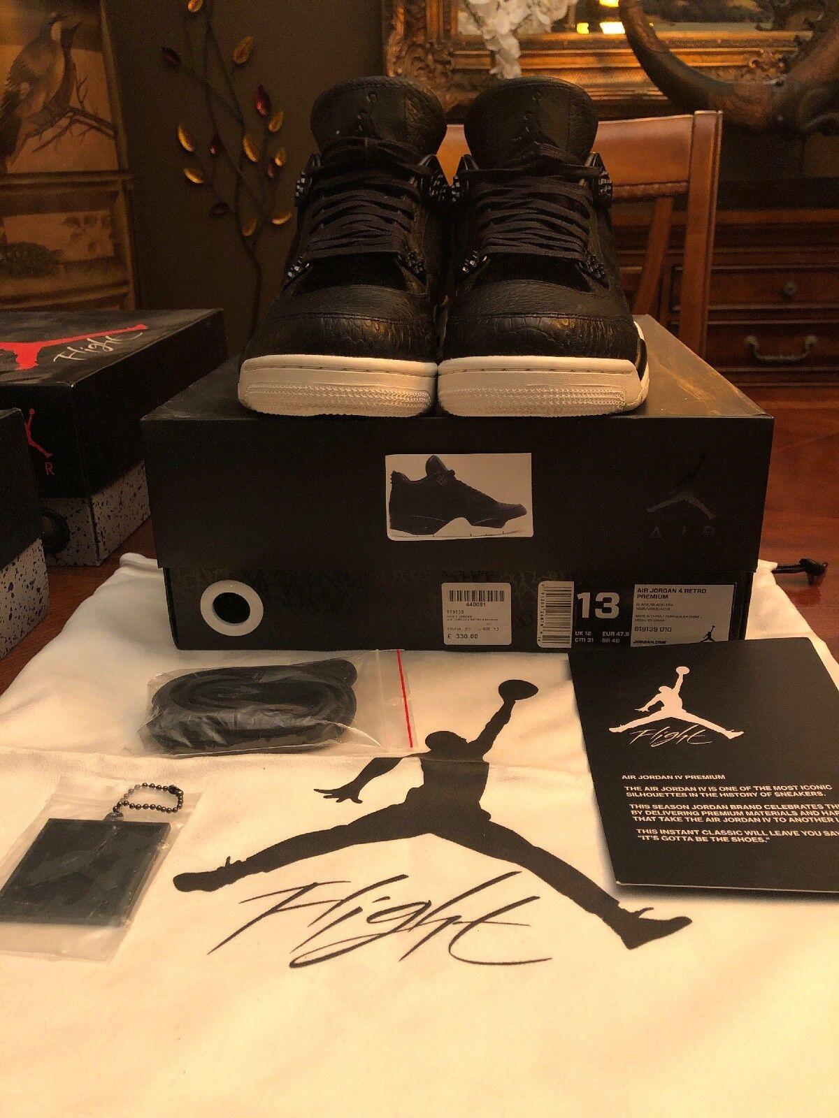 Nike Air Jordan Retro 4 Premium Pony Hair Black Pinnacle SZ 13