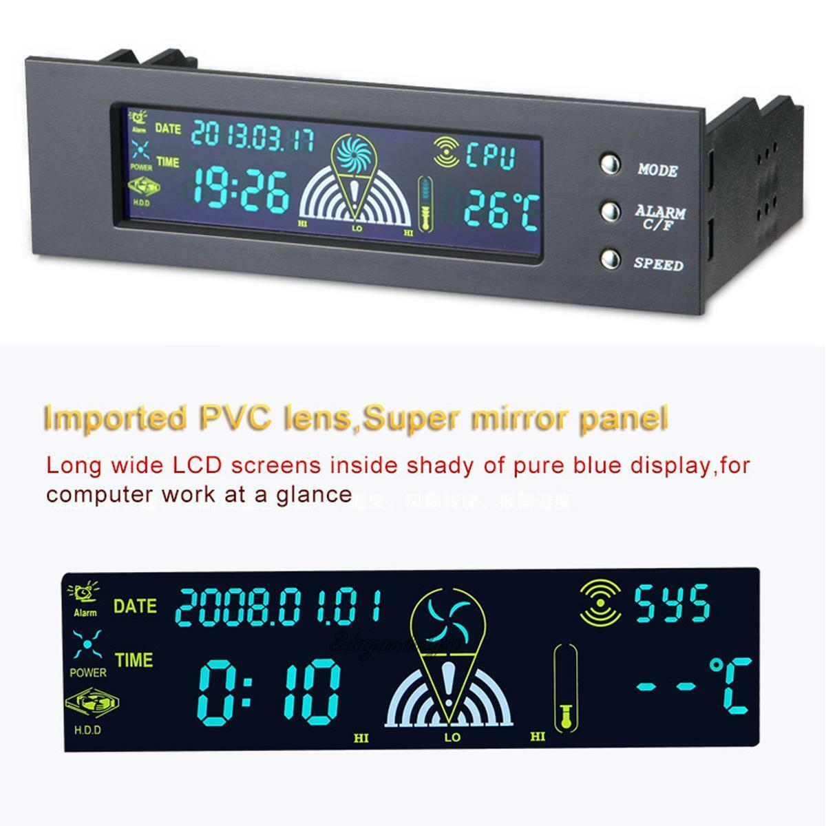 5.25 inch Fan Speed Controller PerryLee PC Computer Fan Controller Temperature Controller Front Panel Date Time Temperature Display Drive Bay