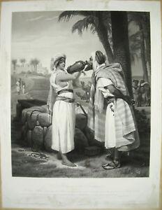 Amical Rebecca à La Fontaine Horace Vernet Sc Jazet C.1860 Juifs & Estampe Orientaliste
