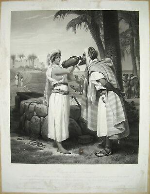 Inteligente Rebecca à La Fontaine Horace Vernet Sc Jazet C.1860 Juifs & Estampe Orientaliste