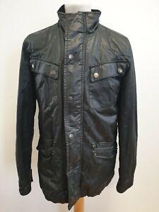 H882-Herren-Tailored-Schwarz-Volle-Reissverschluss-Wachs-Motorrad-Wochenende-Jacke-UK-S-EU-46
