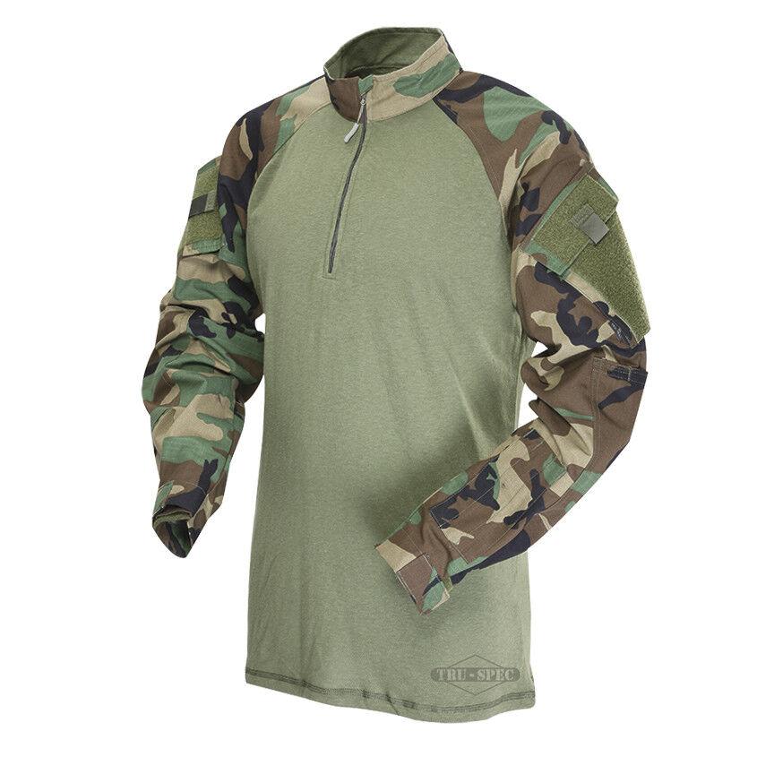 Tru-Spec Woodland/Olive Drab 1/4 Zip TRU Combat Combat Combat Shirt 50/50 NYCO RS f5fb9d