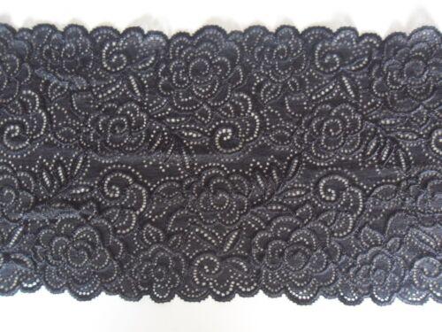 ELEGANTE Schwarz SPITZE elastisch Borte Lace 16,3cm breit MODE
