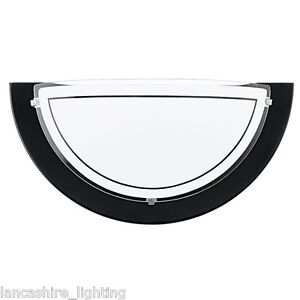 Black metal wall light with frosted glass shade half moon wall image is loading black metal wall light with frosted glass shade mozeypictures Image collections