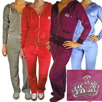 Ladies Womens Sexy Full Velour Tracksuit Jogging Hoody