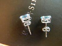 Pretty Sterling Oval B Lue Topaz Post Stud Pierced Earrings