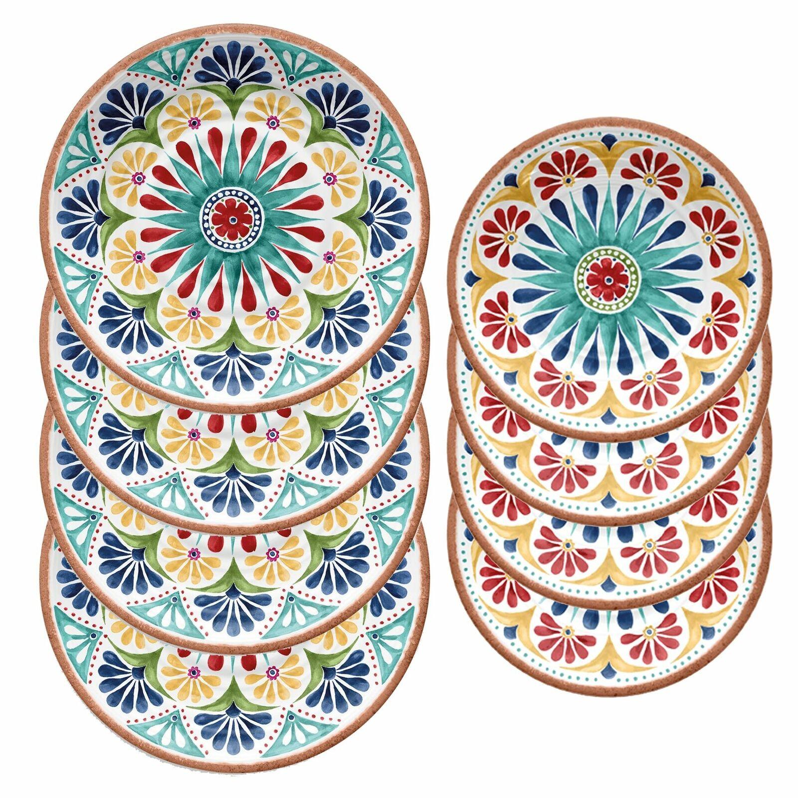 Epicurean Rio Medallion Outdoor-Plastic Melamine Dinner & Side Plates-Set of 4