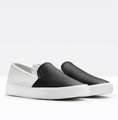 Audacious New Vince Sz9us Blair 5 Leather Perforated Slip-on Sneakers White/black Smoothing Circulation And Stopping Pains Clothing, Shoes & Accessories Women's Shoes