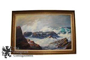 Stunning-George-J-Bleich-1972-SeaScape-Oil-Painting-California-Coast-Waves-55-034
