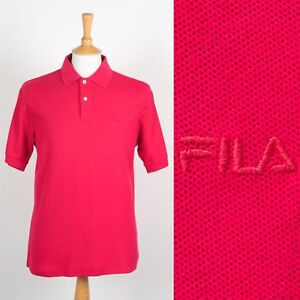 e75c470f MENS VINTAGE FILA POLO T-SHIRT BRIGHT PINK PIQUE COTTON T SHIRT ...