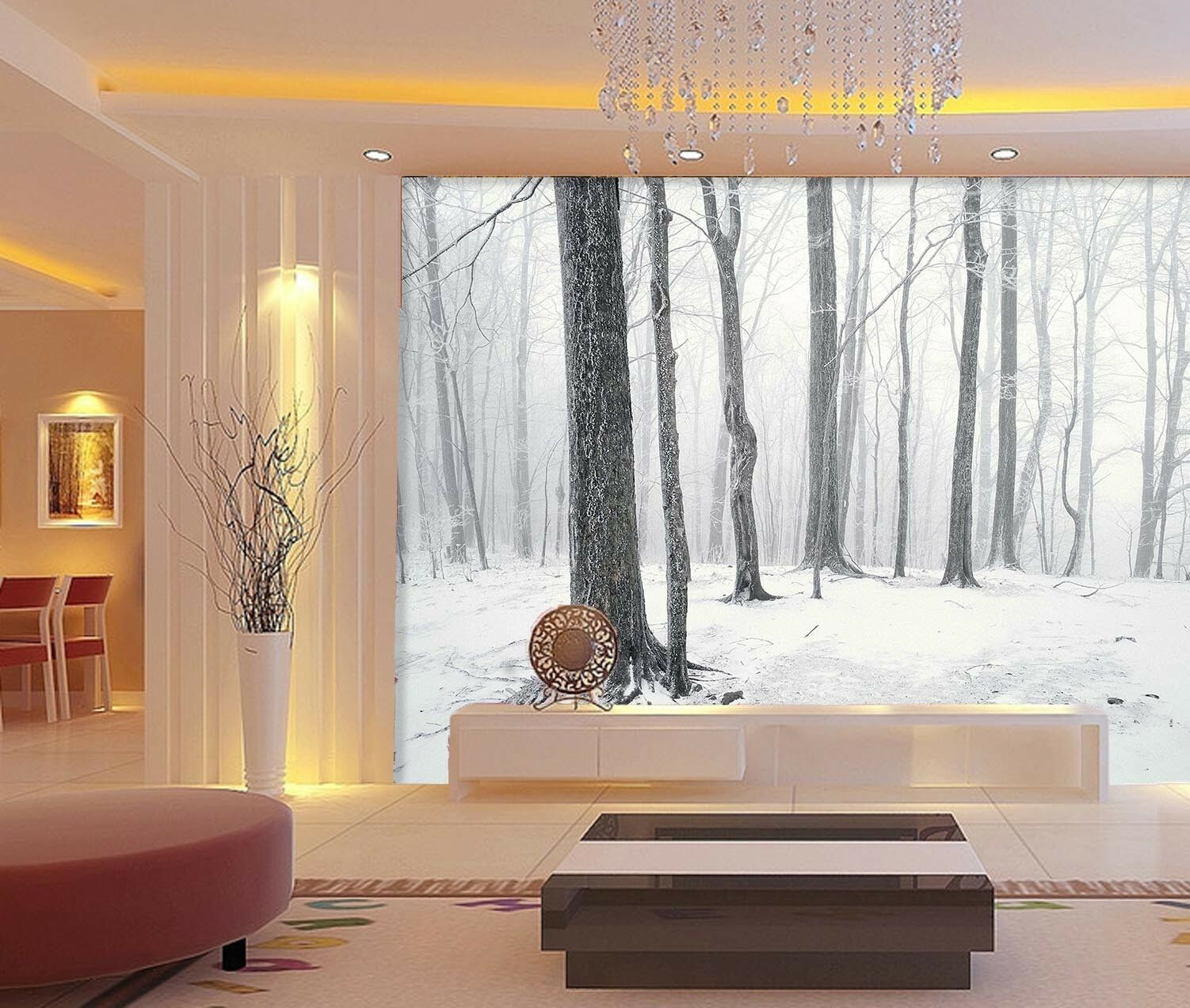3D Snow Land Trees 523 Wall Paper Wall Print Decal Wall Deco Indoor Mural Summer